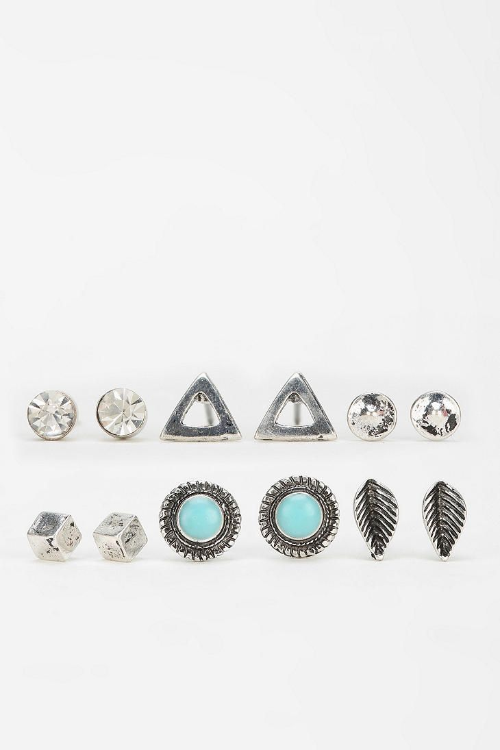 Boho Stud Earring Set Silver One From Urban Outfitters
