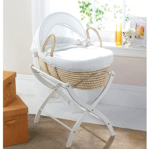 Izziwotnot White Gift Corn Husk Basket Natural Features Natural Maize Moses Basket. Adjustable canopy. Wipe clean mattress sizenbsp