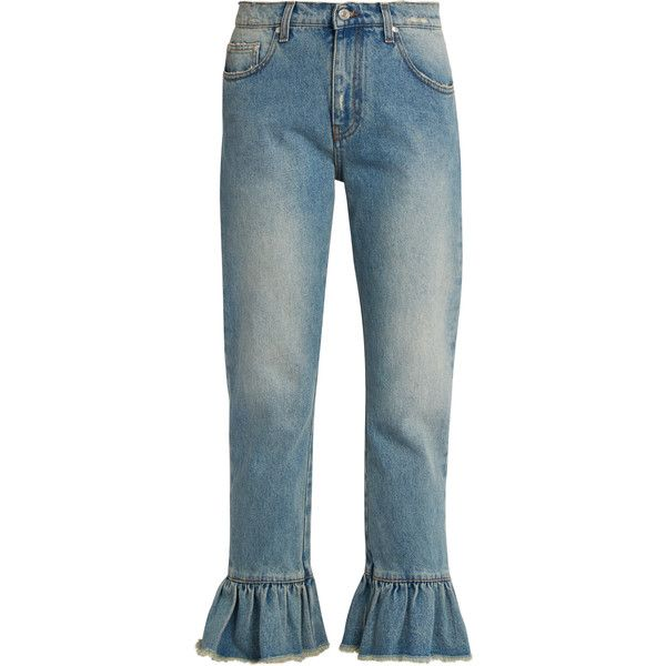 MSGM Ruffled-hem cropped jeans (€185) ❤ liked on Polyvore featuring jeans, pants, bottoms, denim, blue denim jeans, cropped jeans, cropped denim jeans, faded blue jeans and relaxed jeans