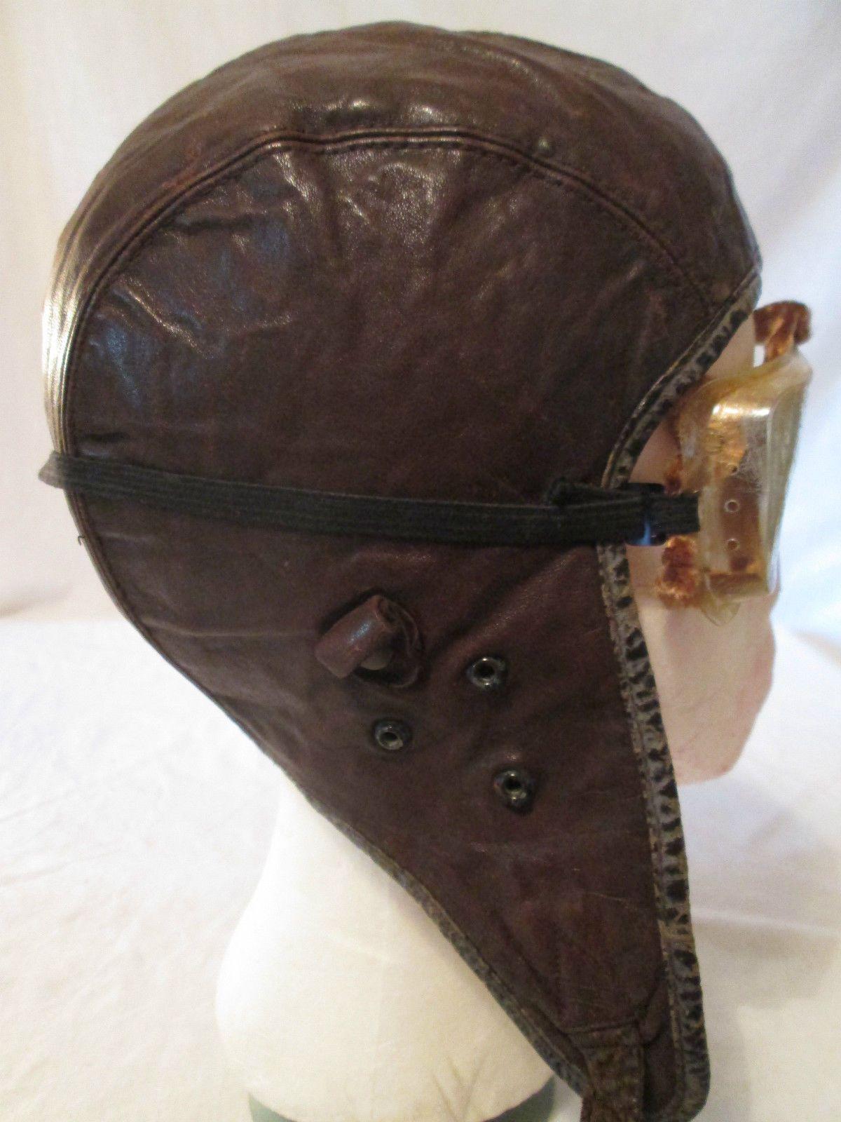 c8f8aa35306 Vintage Aviator Original Brown Leather WW2 WWll Helmet Goggles Maker in Hat  Who