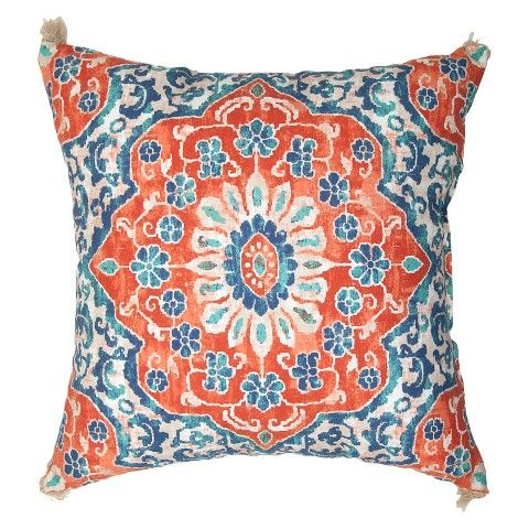 Outdoor Pillow - Coral & Blue Batik - Threshold™