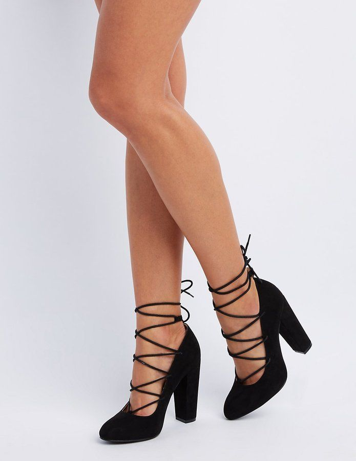 2e602e40157 Charlotte Russe Lace-Up Block Heel Pumps