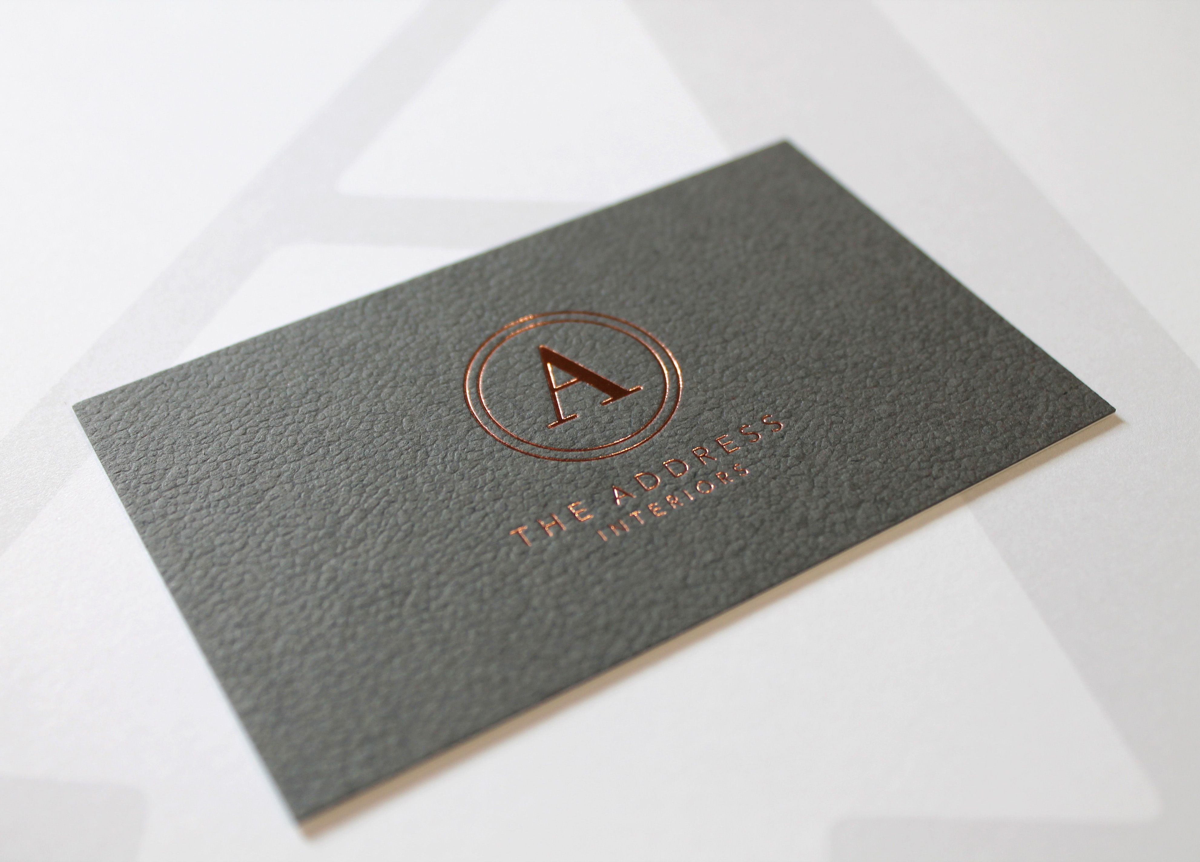 Rose Gold Foil Deboss Business Card Onto Colourplan With Morocco