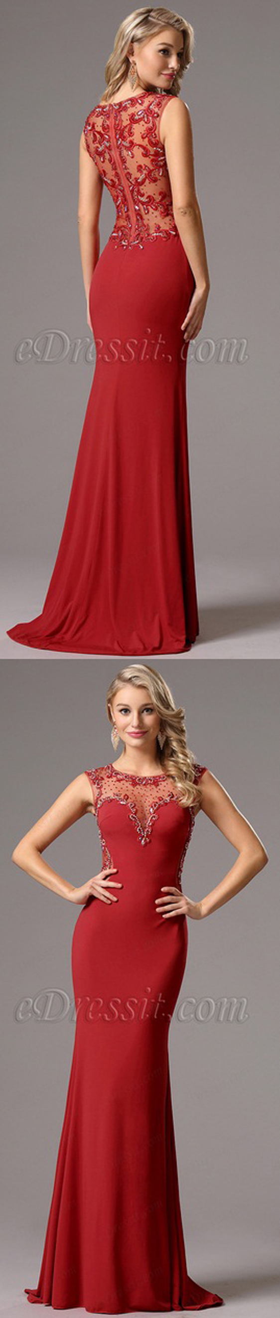 Stunning red gown with fully beaded back!