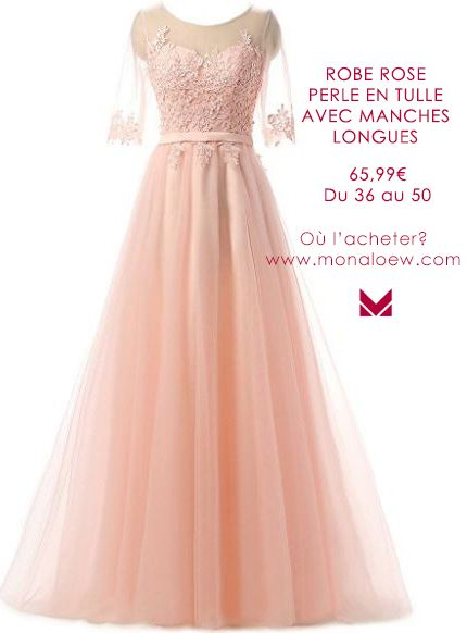 Robe soiree rose poudre