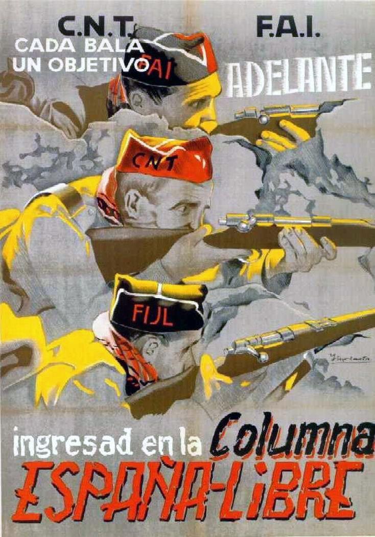 Afiche de propaganda libertaria CNT-FAI | Guerra civil Española 1936-1939 |