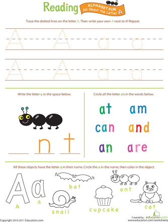 Beginning Reading: All About the Letter A | Letter worksheets ...