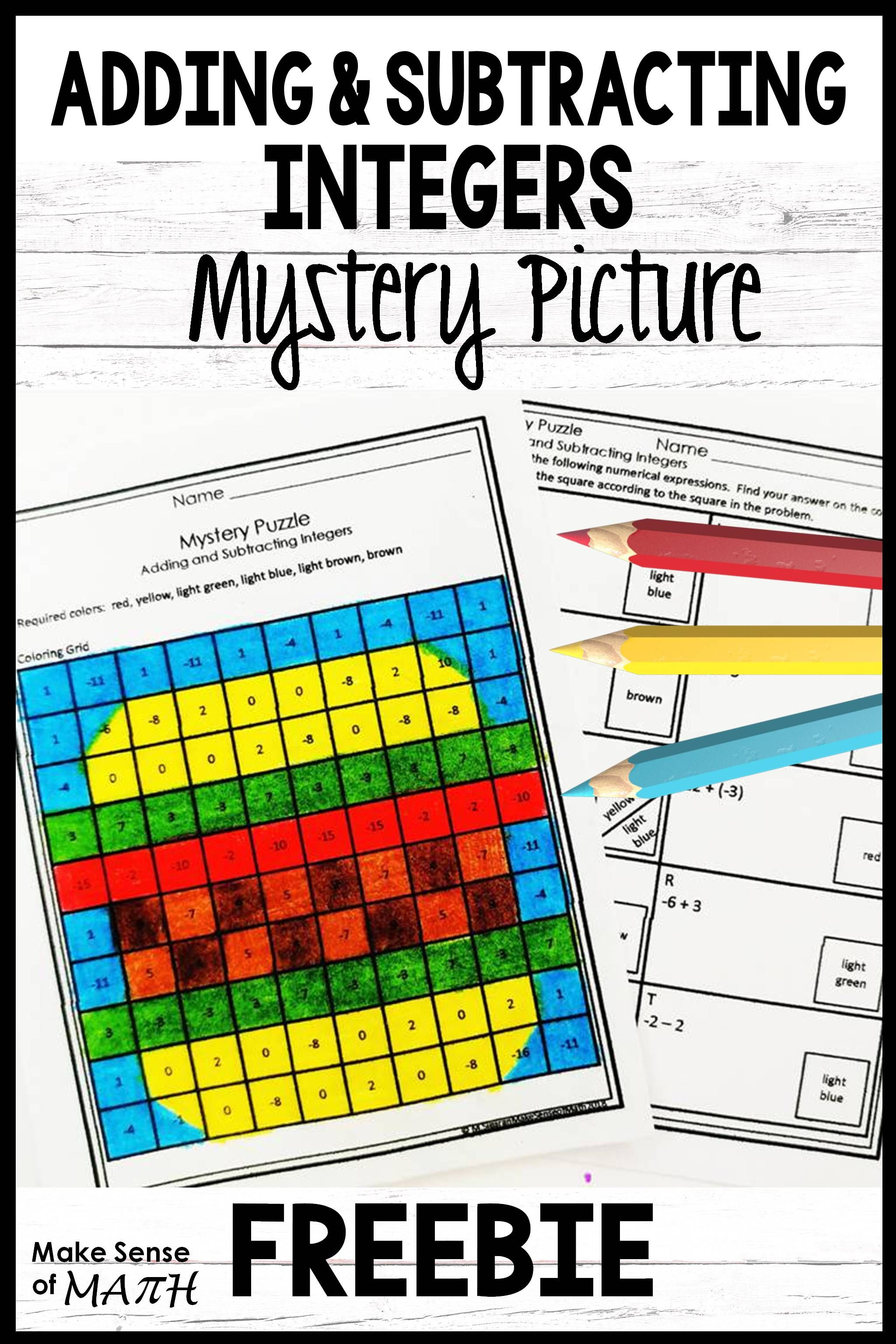 Grab Your Free Adding And Subtracting Integers Mystery