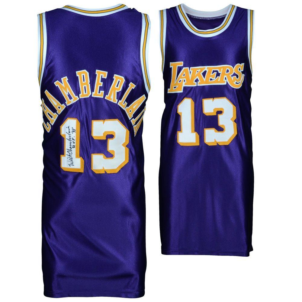 29200899b84 Wilt Chamberlain Los Angeles Lakers Autographed Vintage Purple Item 8813510