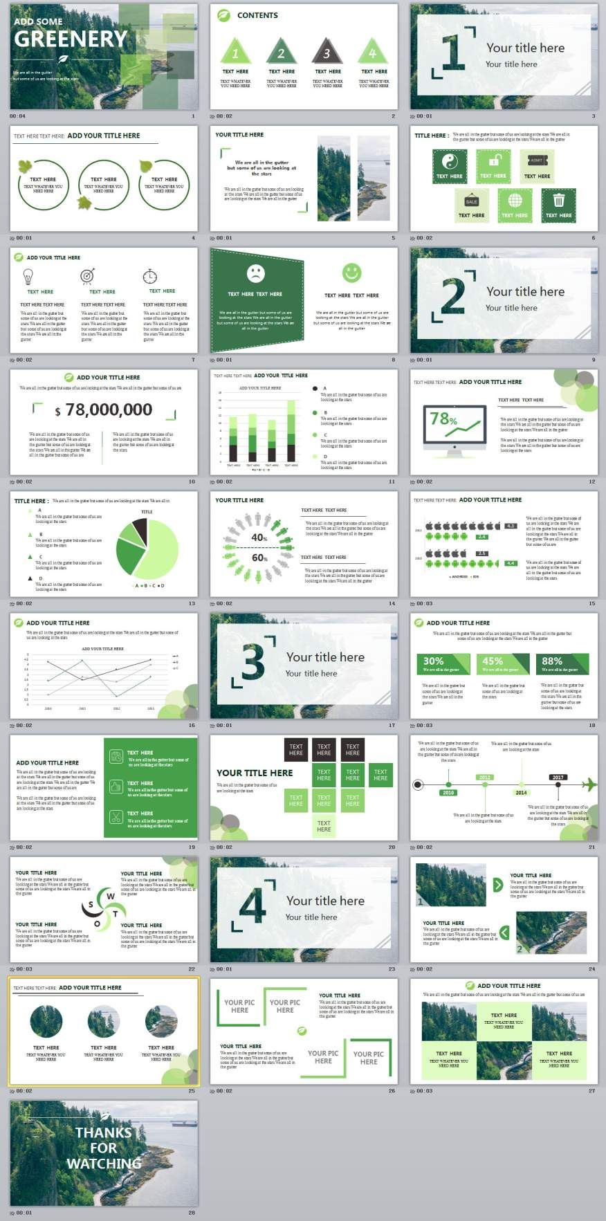 28 green annual report chart powerpoint template graphic design
