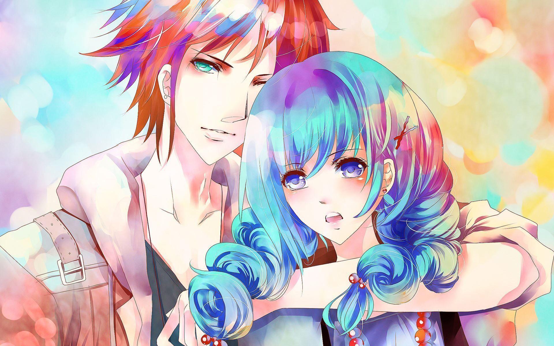 anime couple, cute couple, cute girl, cool guy, blue hair