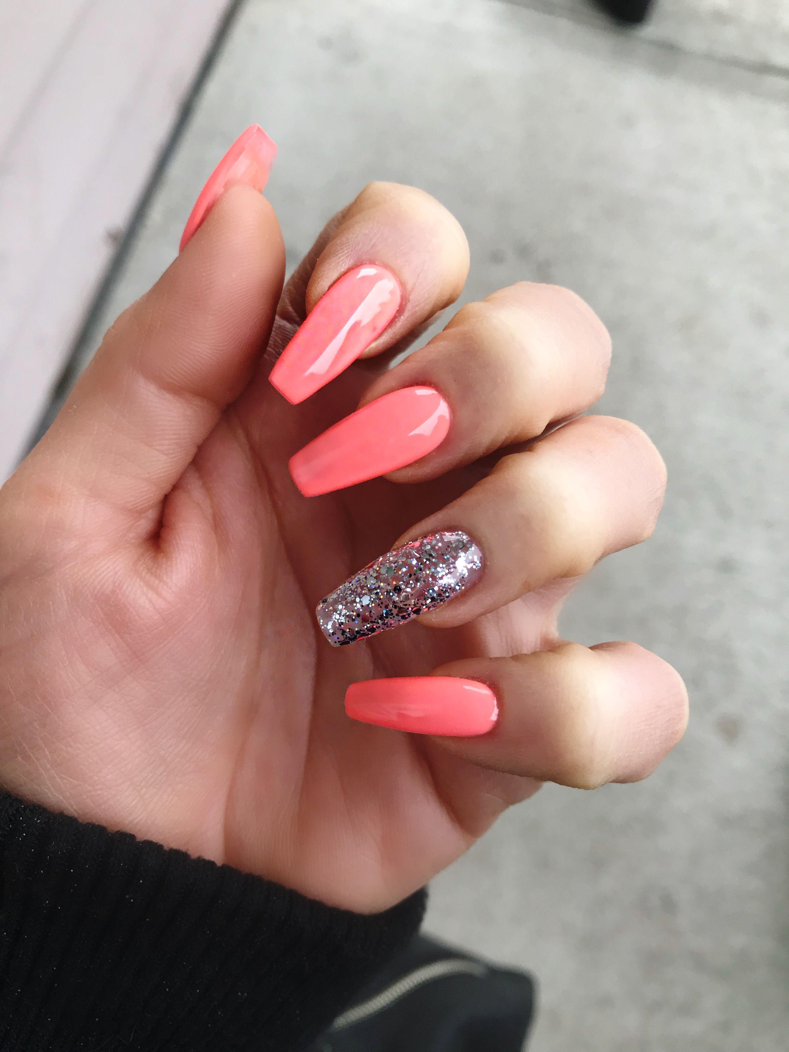 Bright Orange Nails Bright Acrylic Nails Glitter Nails Acrylic Nails Sencillas