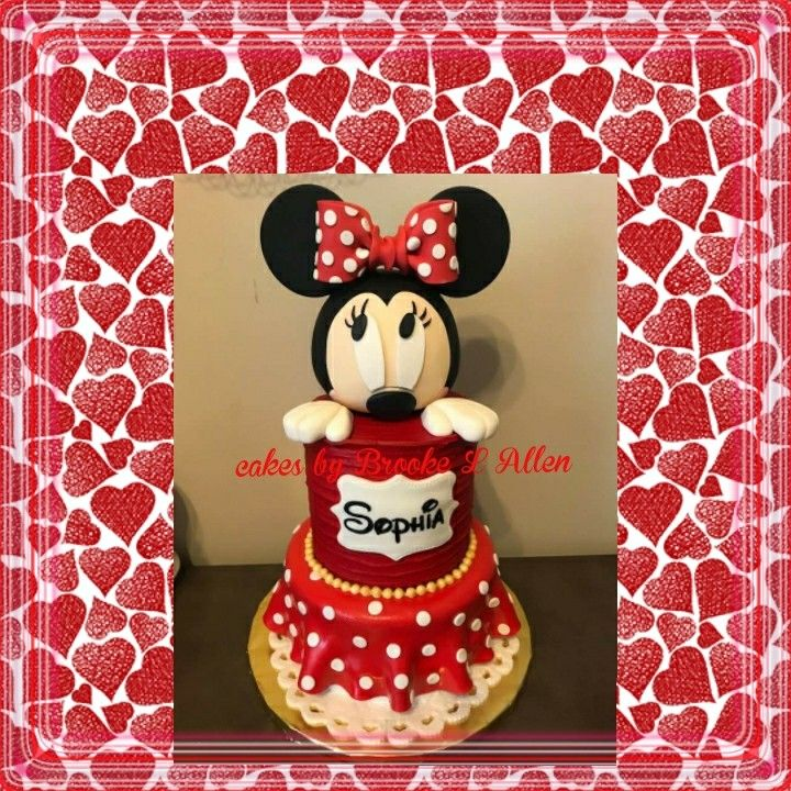 2 Tiered Minnie Mouse Birthday Cake With Minnie Mouse Head Topper 5
