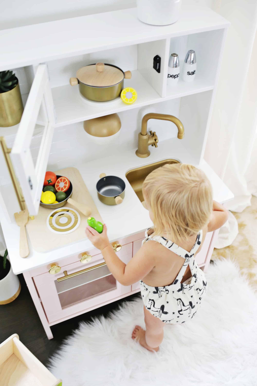 Mid-Century Modern Ikea Play Kitchen Hack   Ikea play kitchen. Play kitchen. Midcentury modern