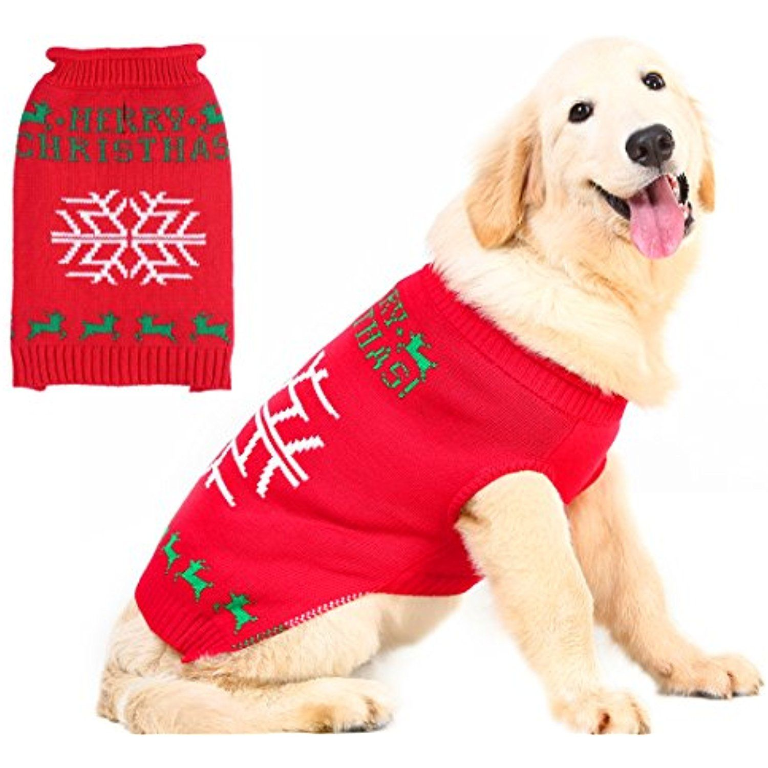 ugly christmas dog sweater holiday snowflake style pet festive coat puppy winter clothes red large - Ugly Christmas Dog Sweater