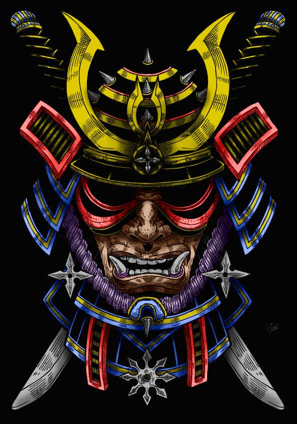 máscara samurai  ilustrasi samurai seni jepang tato