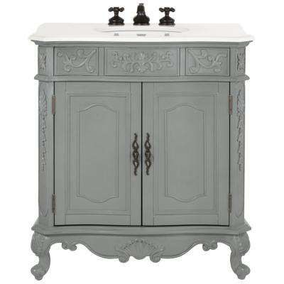Winslow In W Vanity In Antique Grey With Marble Vanity Top In - Antique grey bathroom vanity