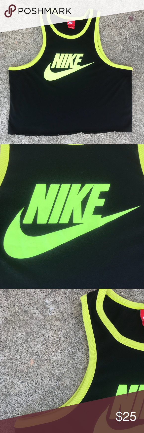 2847e13165f1c Reworked Nike Black/Neon Green Cropped Tank Top Add a pop of color to your  wardrobe with this ill nike crop tank. Size: XL Measurements: Pit to Pit:  22