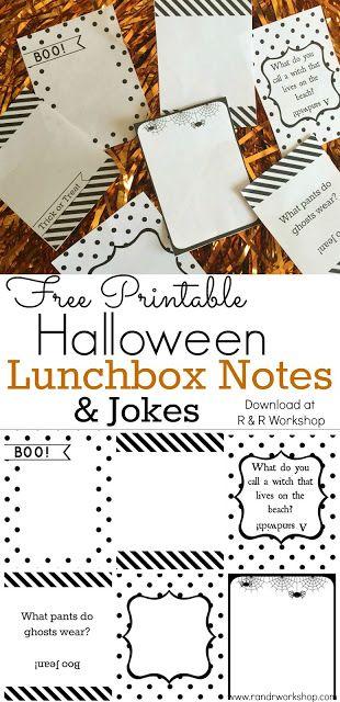 Halloween Lunchbox Notes & Jokes   Jokes, Halloween and Note