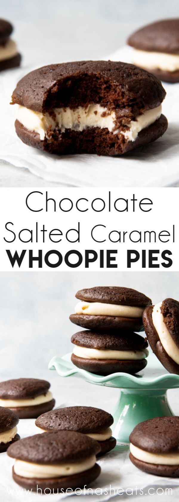 Chocolate Salted Caramel Whoopie Pies are decadent handheld treats that bridge t... ,  Chocolate Sa