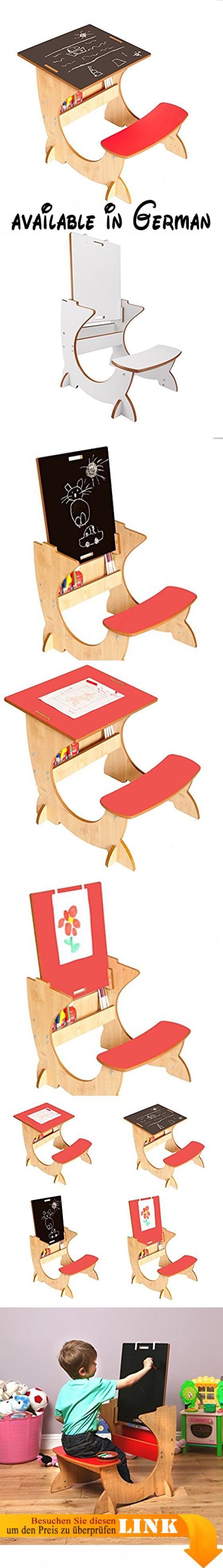 Little Helper ASI01-2 - 4-in-1 Holz Art Station Kinder Schreibtisch mit Kreidetafel und Staffelei, Rot. Voll Sicherheits getestet, zu europäischen Standard, ist die ArtStation eine witzige 4-in-Einem Kombination aus Schreibtisch, Kreidetafel und Staffelei. Für Kinder im Alter von 2-6 Jahren.. Die Schreibtischplatte ist abnehmbar und doppelseitig: Schreibtisch auf einer- und Kreidetafel auf der andren Seite. Die umkehrbare Schreibtischplatte lässt sich durch Schiebenuten