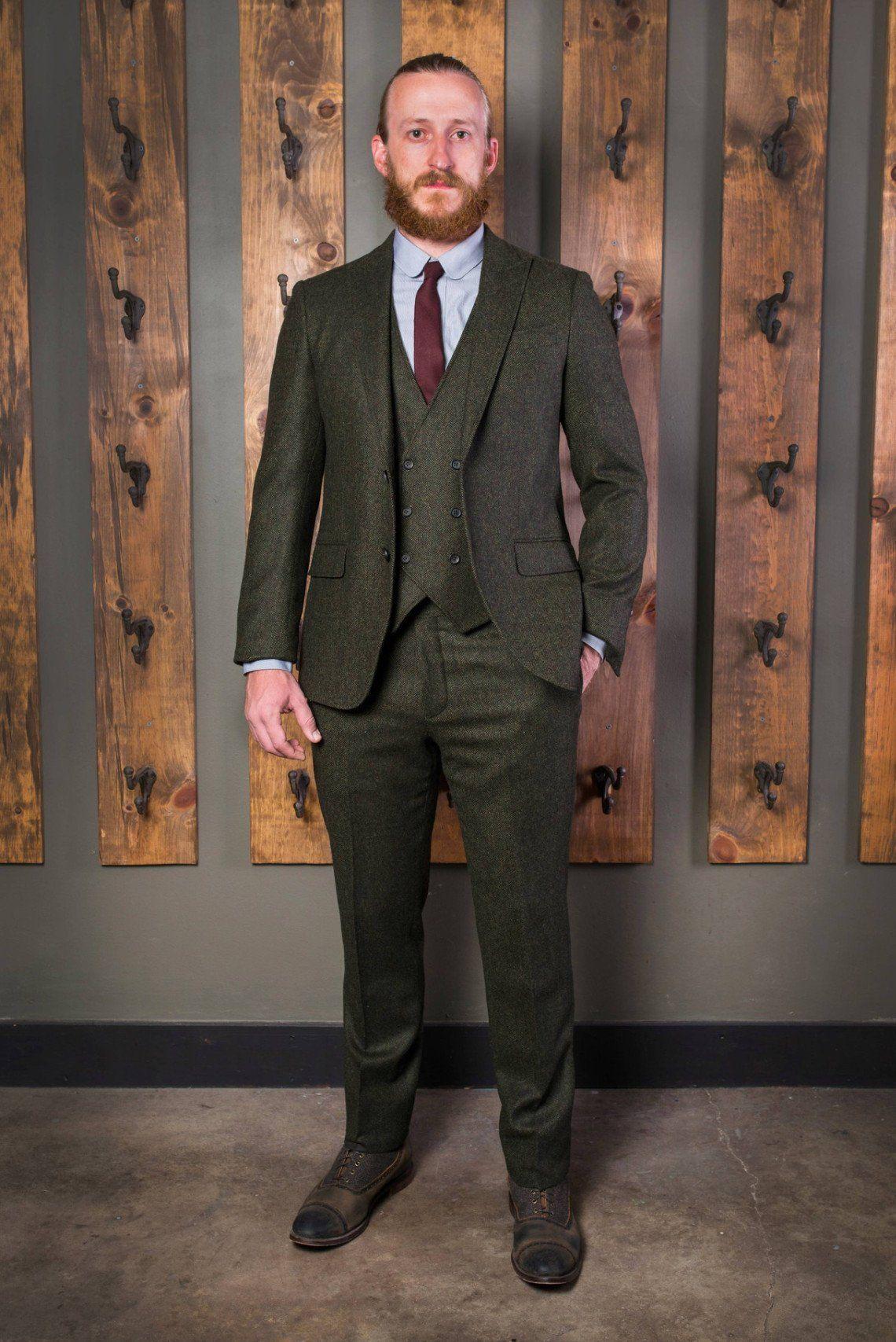 99564a4934 Classic Peak Tweed Suit-Bykowski Tailor   Garb Green tailored fit slim fit  Wool vintage inspired prohibition peaky blinders high armholes English  Tweed ...
