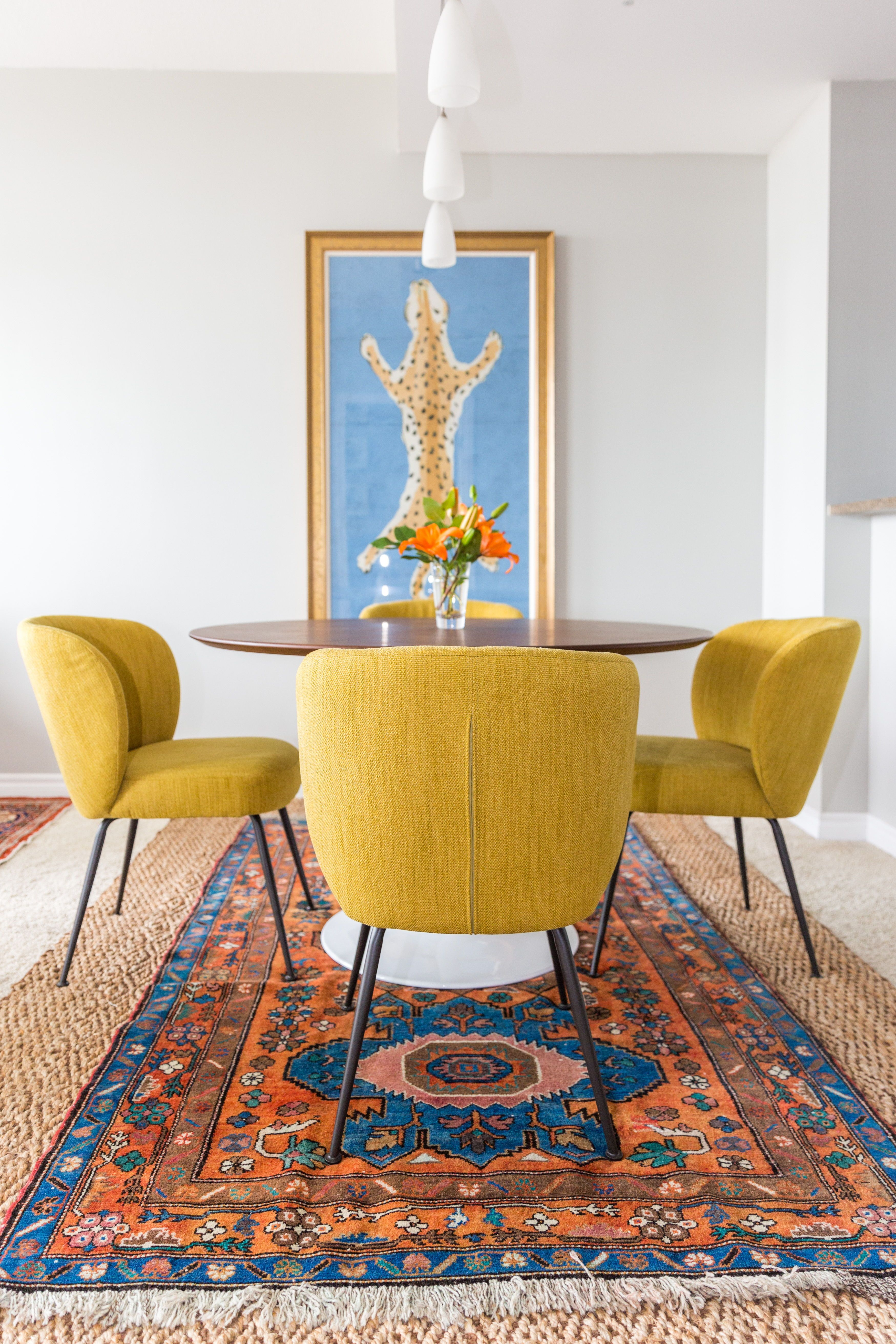 Yellow Upholstered Dining Chairs In San Diego Condo Dining Room