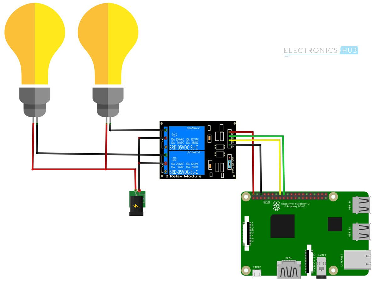 how to control a relay using raspberry pi circuit diagram [ 1200 x 901 Pixel ]