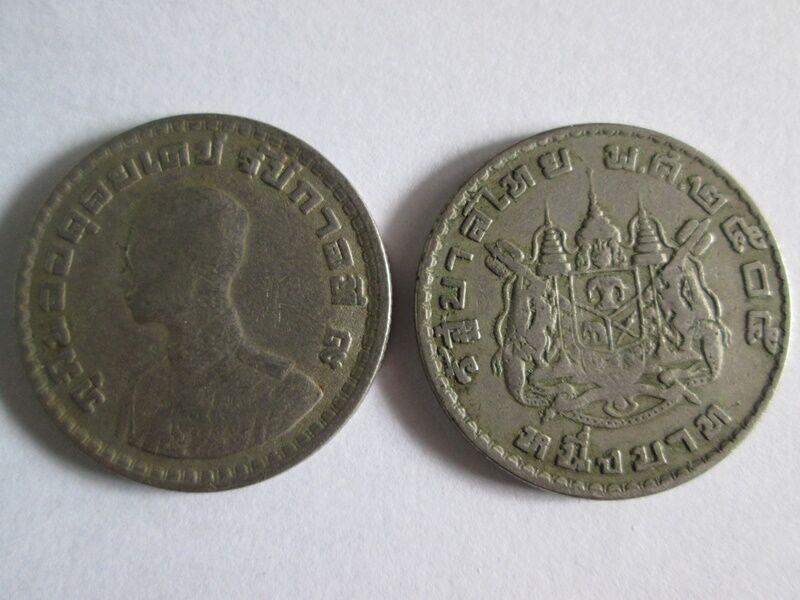 1962 Antique Coin Thai Baht Nickel Be 2505 Siam King 9 Rama Ix