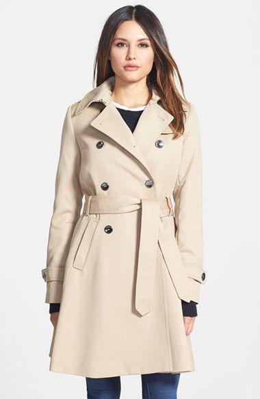 Women's Trina Turk 'Gwyneth' Flared Wool Gabardine Trench Coat ...