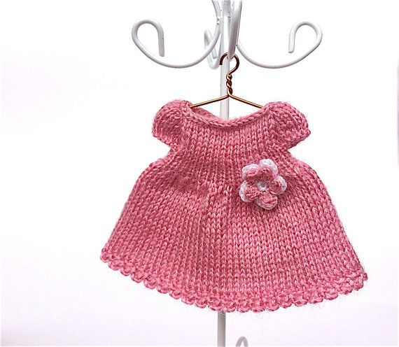Doll clothes miniature knitted pink dress for 3.5 - 4 inches dolls ...
