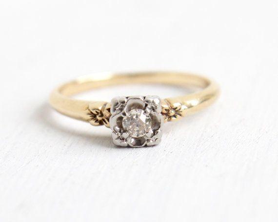 Antique 14k Yellow White Gold 1 10 Carat Old European Diamond Ring Vintage Size 7 Art De Art Deco Diamond Rings Vintage Diamond Rings Wedding Rings Vintage