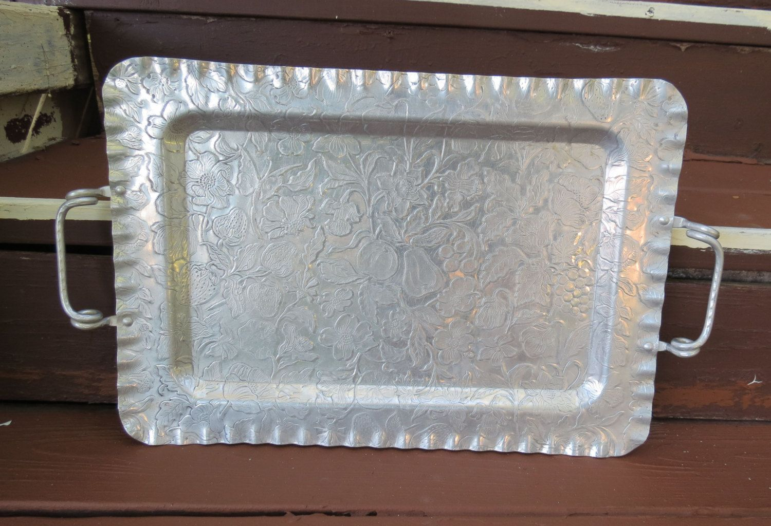 Vintage Large Aluminum Serving Tray Hand Finished Flowers Flora Fruit Kitchenware Kitchen Ware #kitchenware