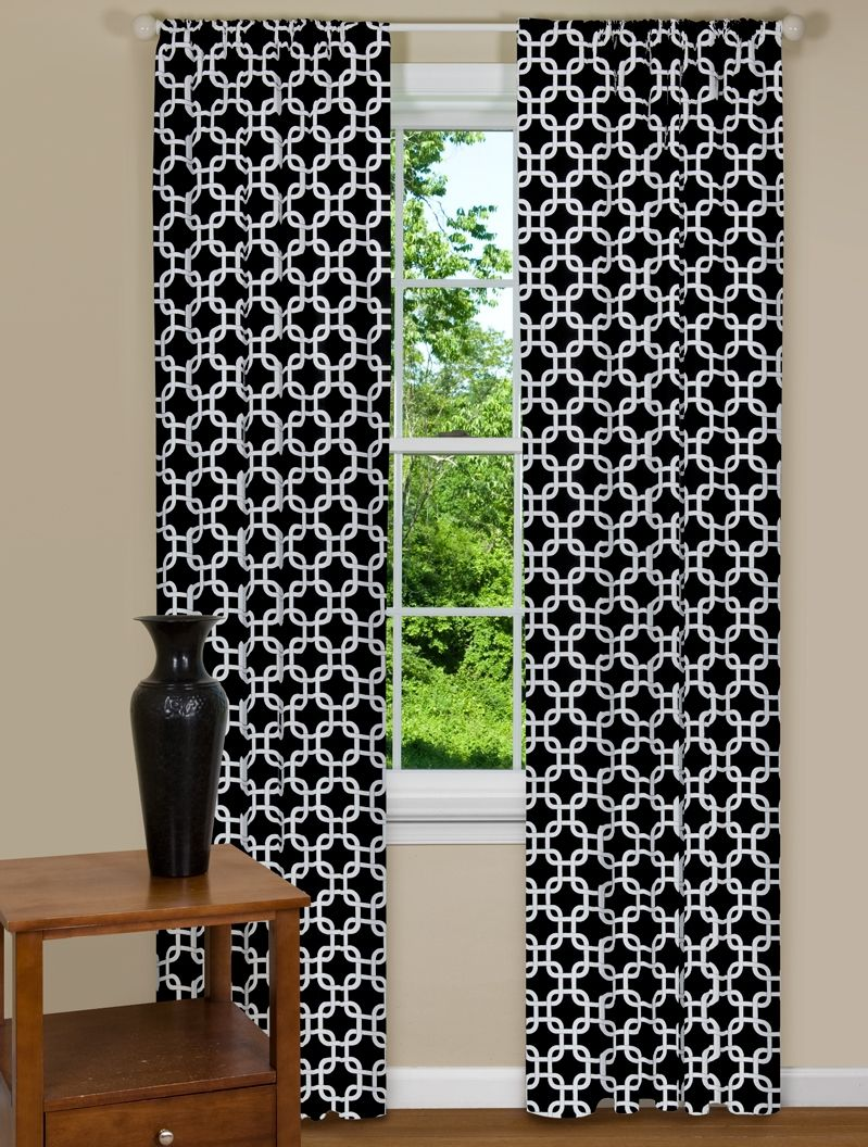 Geometric Black And White Curtain Panels Contemporary Curtains