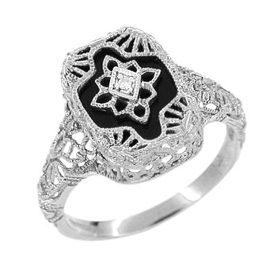 159c7e9693908 Art Deco Filigree Onyx and Diamond Ring in Sterling Silver | Rings ...