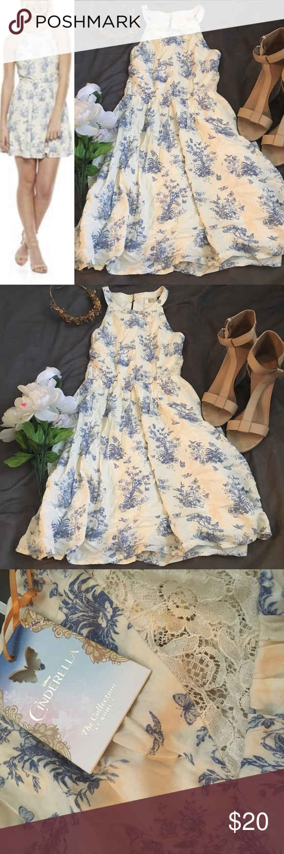 2cccaf62f Disney's Cinderella Collection Lace Halter Dress In a pretty blue and  off-white floral print. It's a perfect ladylike length! Minor makeup stain  at the ...