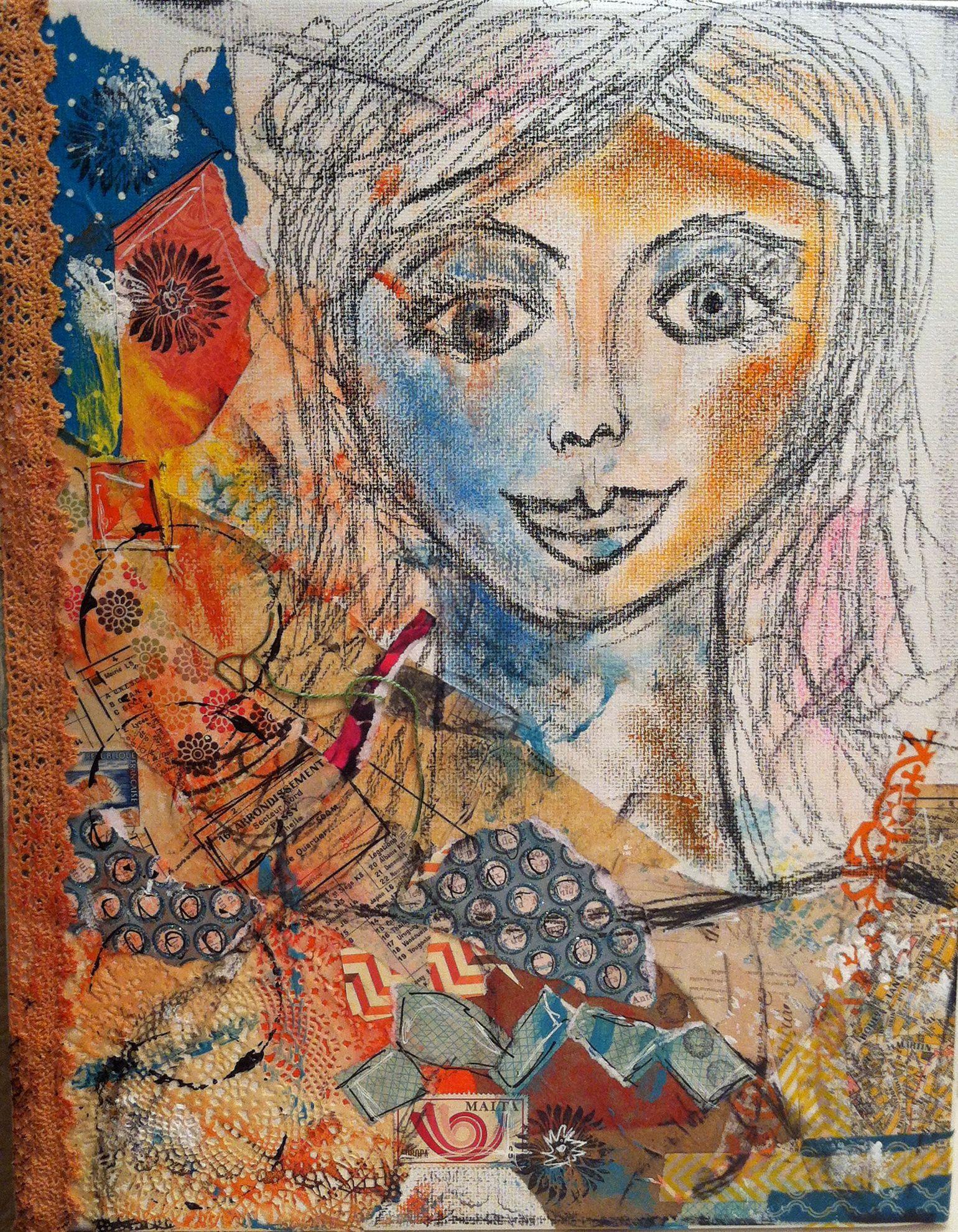 Mixed media on canvas ... girl