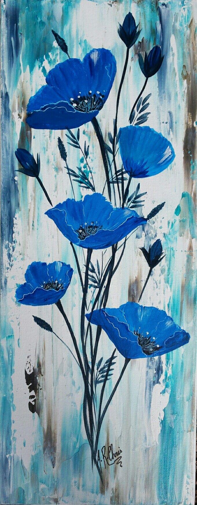 En Bleu Peinture Acrylique Sur Toile 30x80 By Raffin Christine