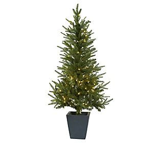 4 6 Christmas Tree In Decorative Planter By Nearly Natural