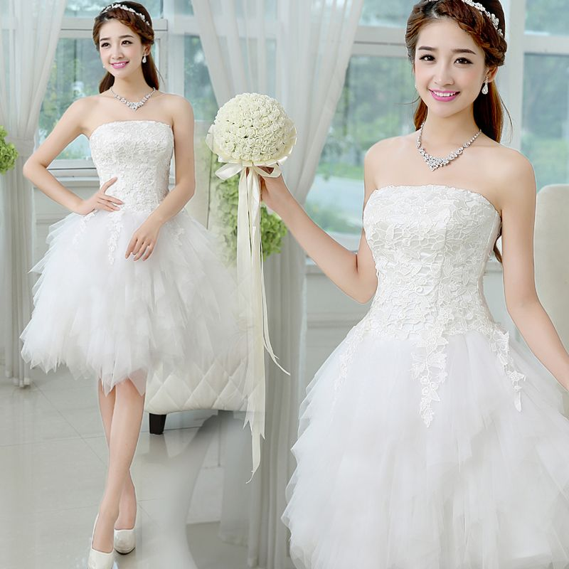 Find More Information about Short Puffy Wedding Dress Tube Top Slim ...