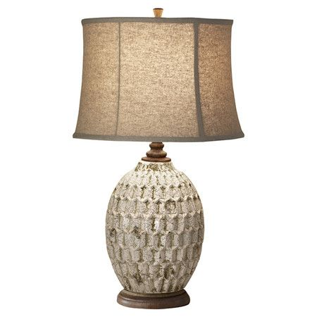 Textured Table Lamp With An Antiqued White Finish And Linen Shade Product Table Lampconstruction Materia Ceramic Table Lamps Lamp Tiffany Style Table Lamps