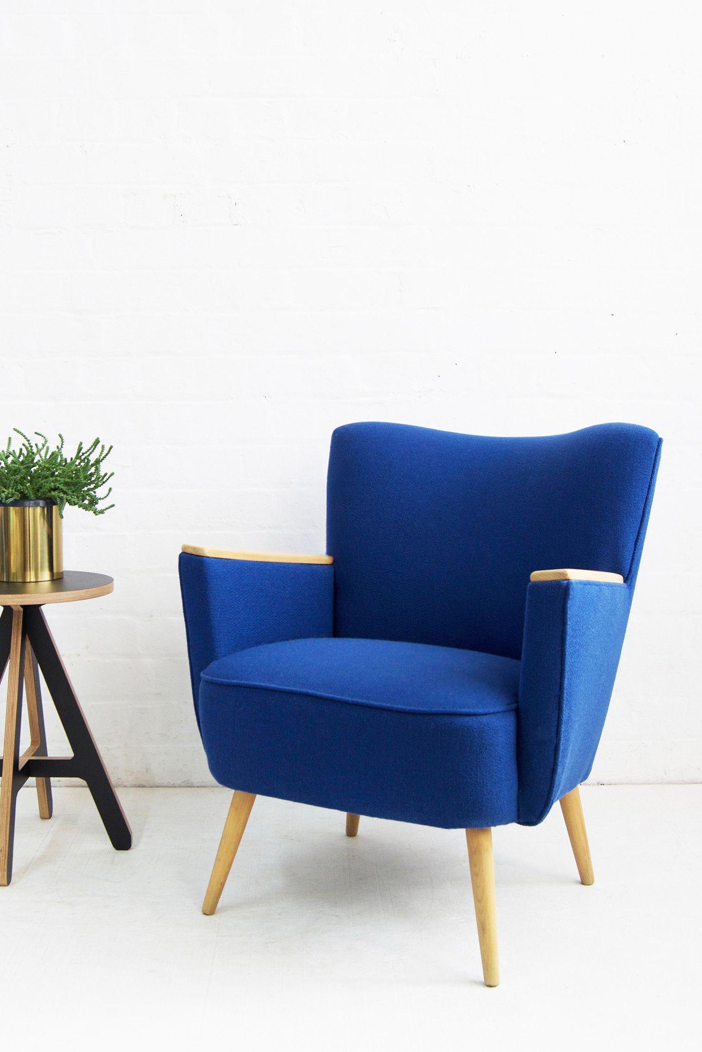 Blue Wool Vintage Armchair