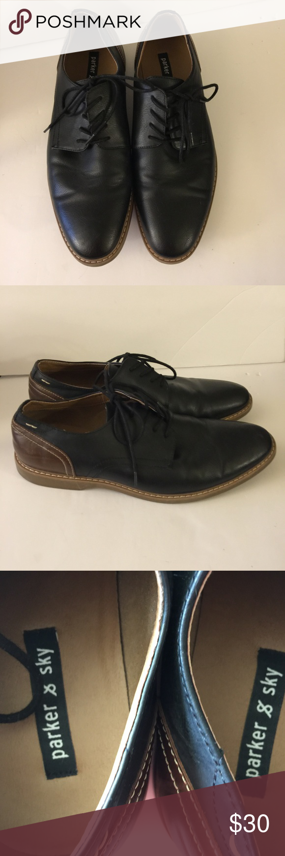 Parker & Sky Black and Brown Lace Up Oxford Shoes Parker & Sky Black and Brown Lace Up Oxford Shoes Size 10.5 Rubber Soles Great Condition   Item500#0317 Parker & Sky Shoes Oxfords & Derbys
