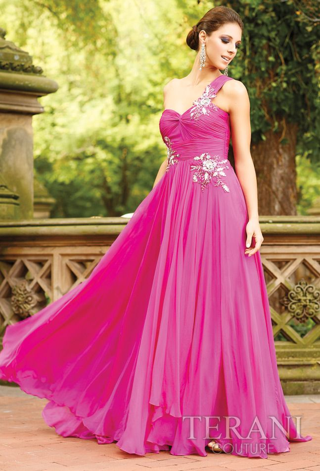 Fuchsia A-Line One Shoulder Floor Length Evening Dresses With ...
