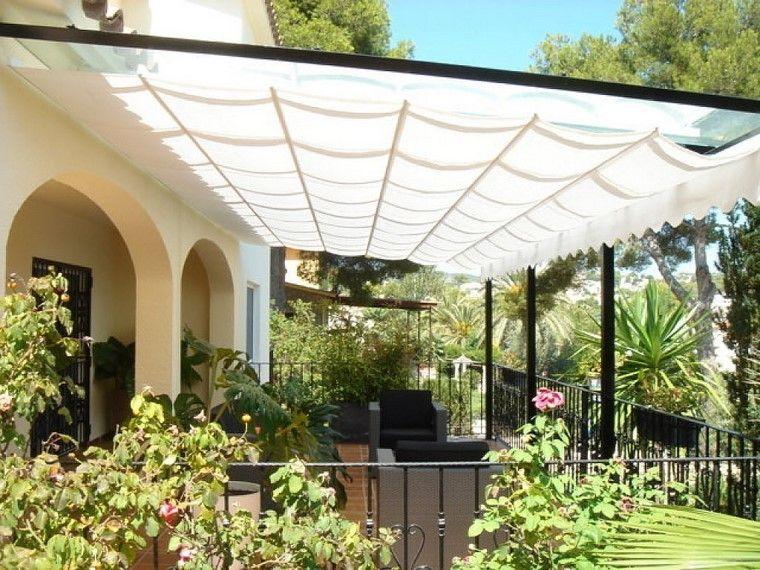 terraza grande cubierta pergola tela ideas