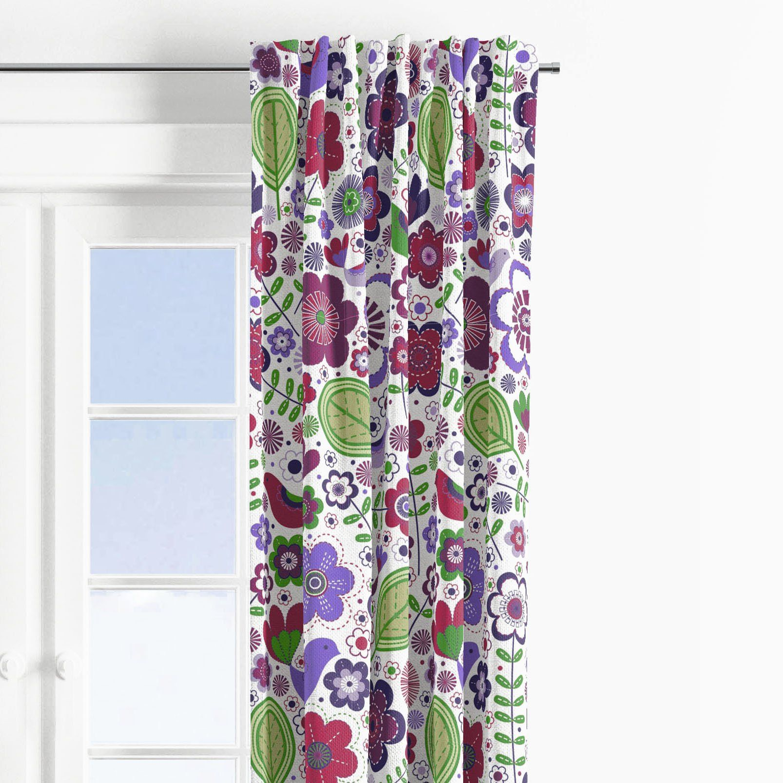 Bacati - Botanical Purple/Multicolor Window Treatments Curtain Panel/Valance Sold Individually (Multiple Prints to choose from) - Botanical Print