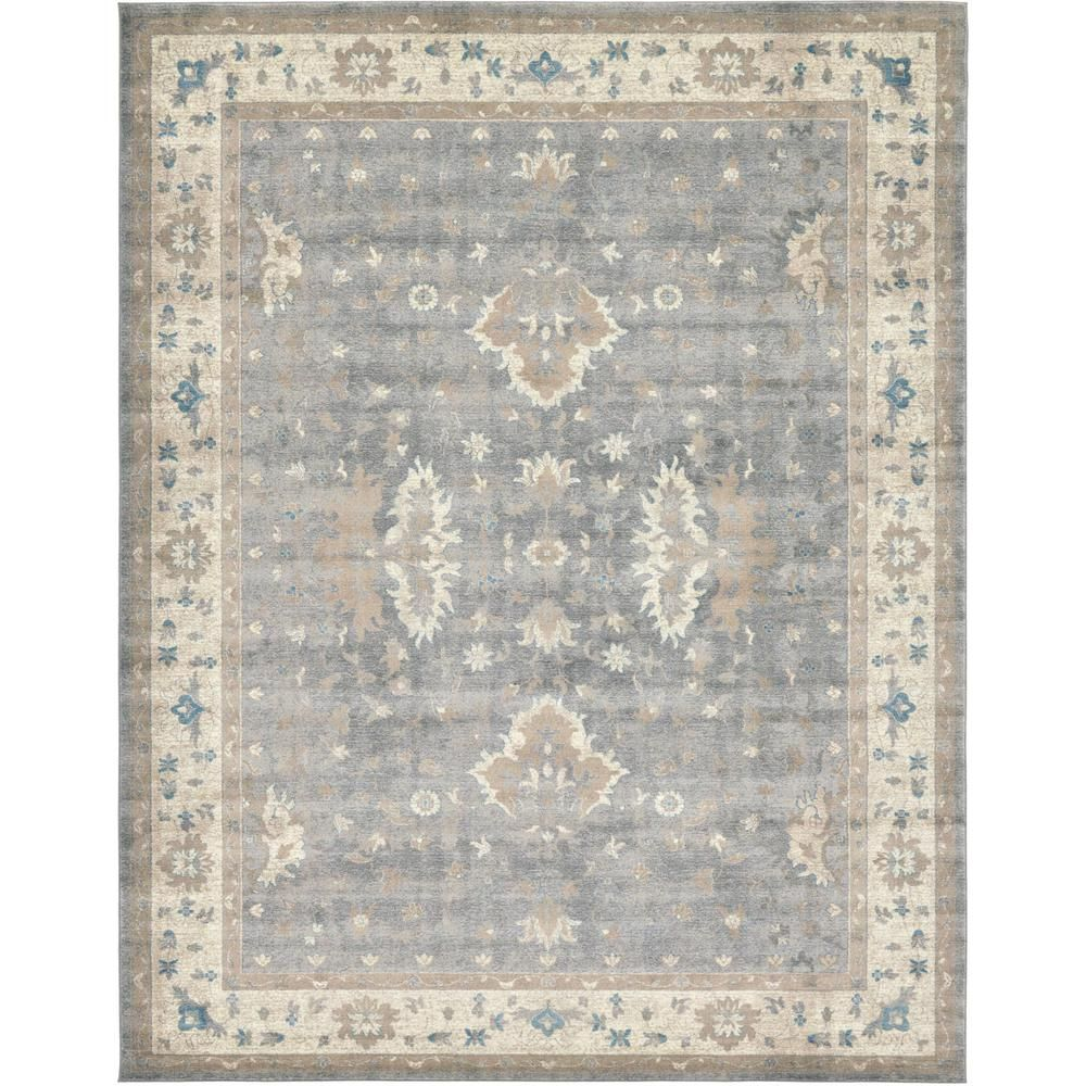 Unique Loom Salzburg Itzling Gray 10 0 X 13 0 Area Rug Grey