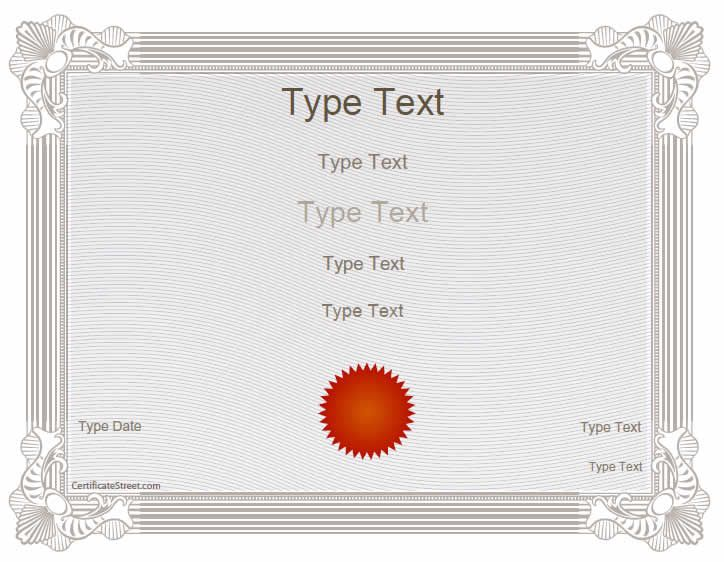 Blank Certificates  Classroom Award Template With Red Seal