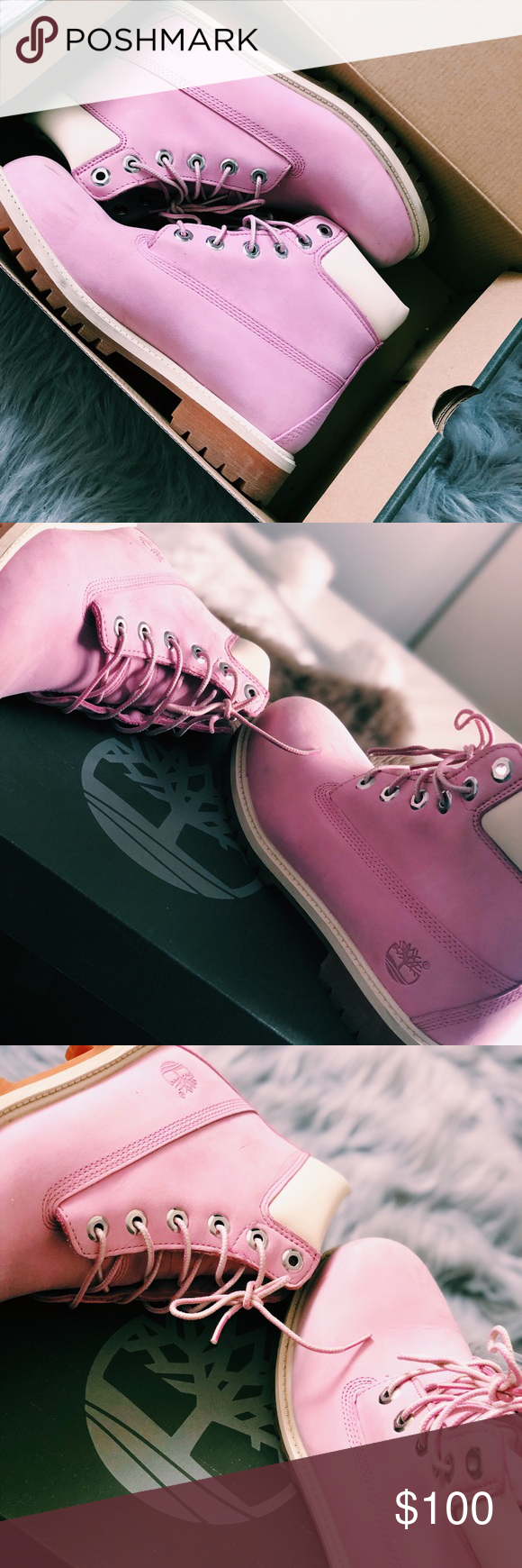 991f874fc94b3 Bubble gum pink authentic timberland boots Journeys exclusive pink  timberlands limited edition boots. Only worn once. Timberland Shoes Winter  & Rain Boots