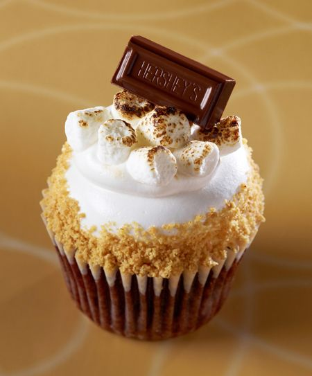 Gigi's Cupcakes - S'Mores: Milk chocolate cake with chocolate chips baked in,topped with vanilla fluff,toasted marshmallows, graham cracker crumbs and a milk chocolate square. Available Tuesday.